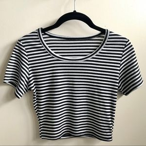 Short Sleeve Striped Black White Crop Top S Cotton